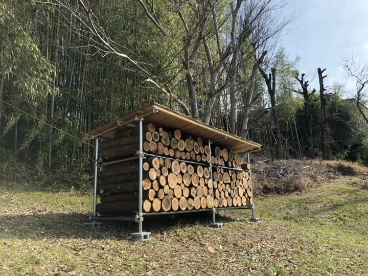 単管パイプで薪棚を作る