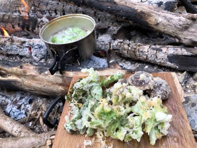 渓流キャンプ 山菜の天ぷら